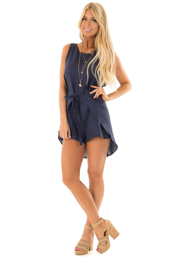 Navy Wrap Style Romper with Front Tie Detail front full body