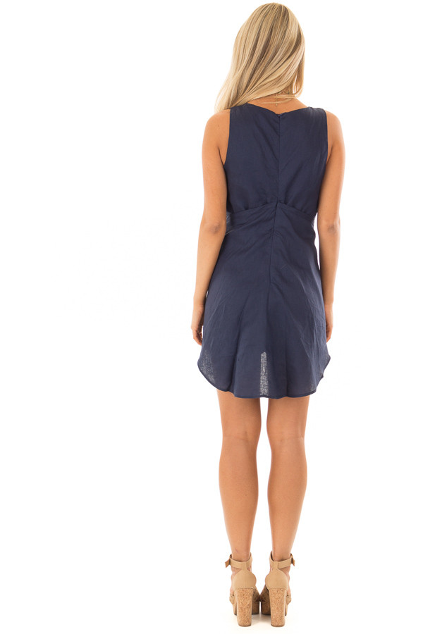 Navy Wrap Style Romper with Front Tie Detail back full body
