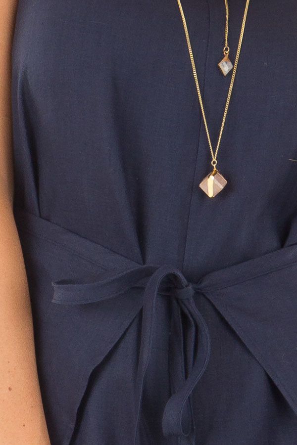 Navy Wrap Style Romper with Front Tie Detail detail