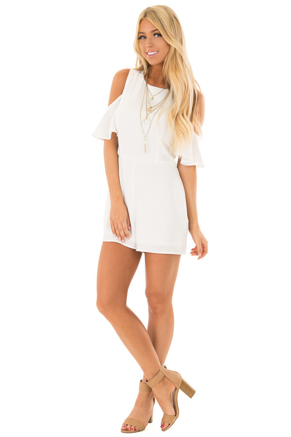 Off White Cold Shoulder Romper with Back Zipper front full body