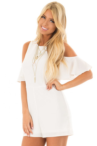 Off White Cold Shoulder Romper with Back Zipper front close up