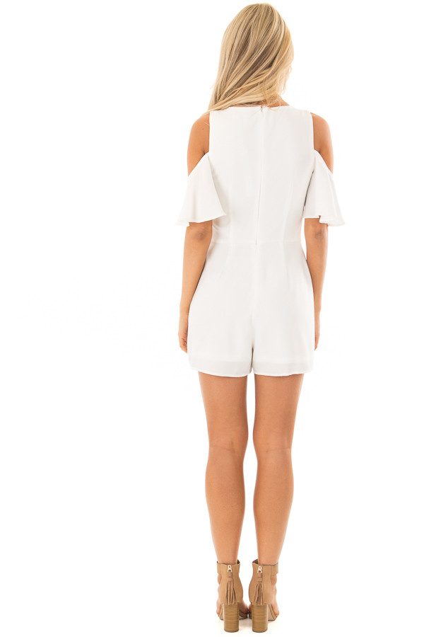 Off White Cold Shoulder Romper with Back Zipper back full body