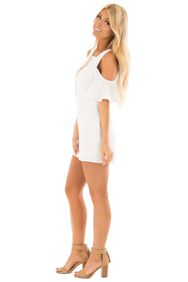 Off White Cold Shoulder Romper with Back Zipper side full body