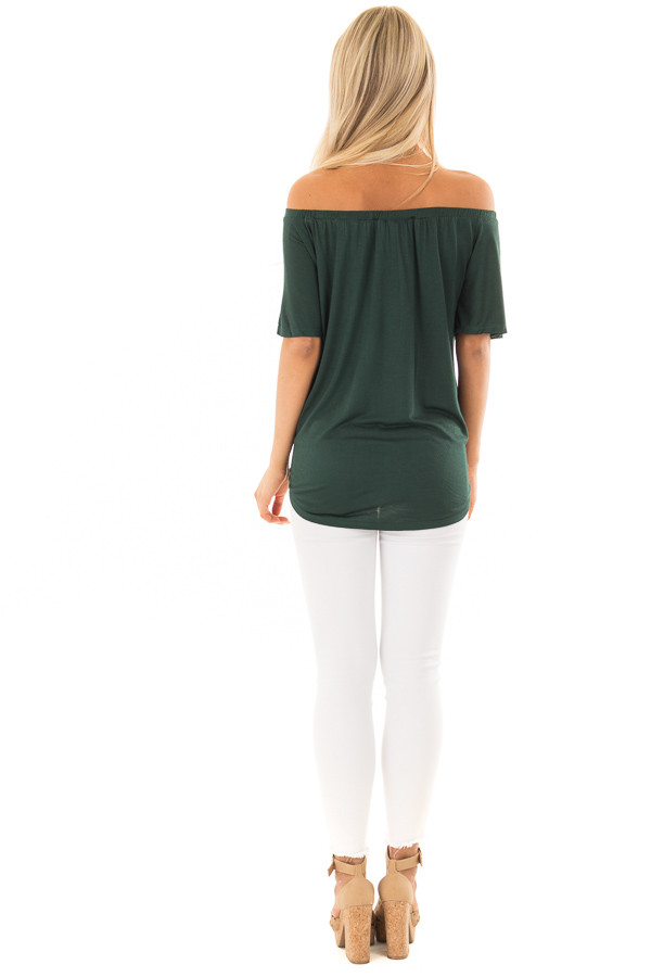 Hunter Green Off the Shoulder Top with Button Details back full body