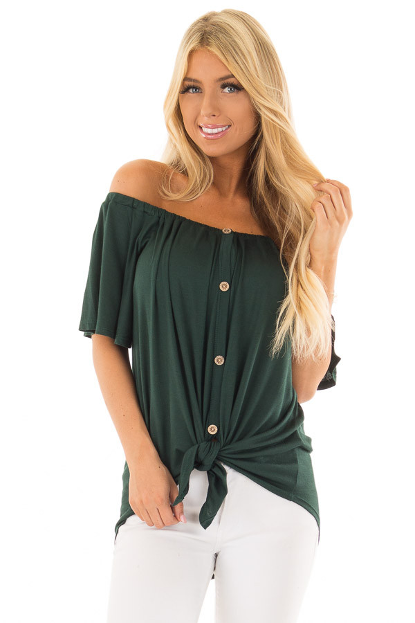 Hunter Green Off the Shoulder Top with Button Details front close up