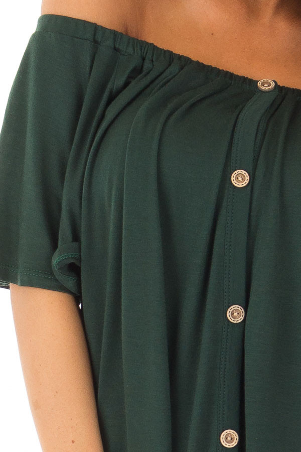Hunter Green Off the Shoulder Top with Button Details detail