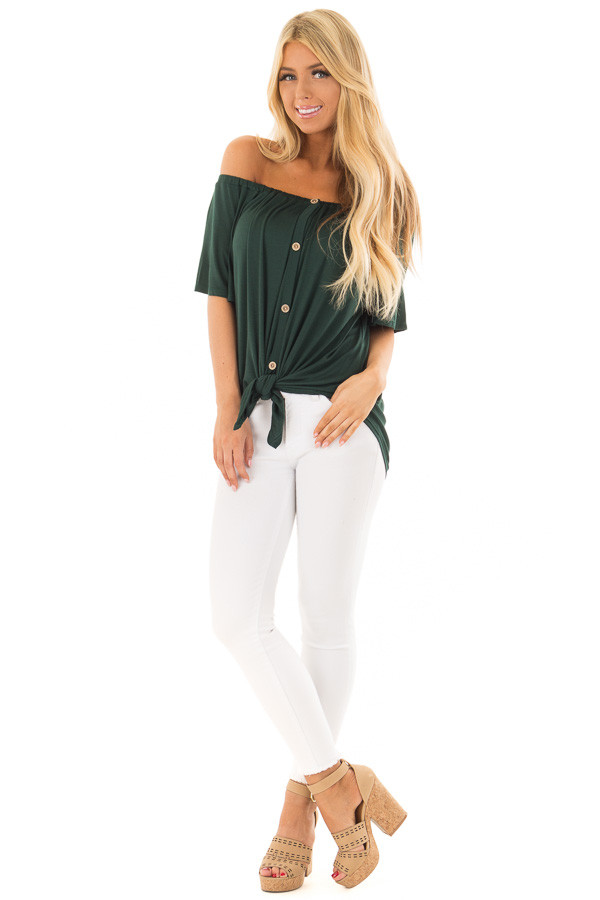Hunter Green Off the Shoulder Top with Button Details front full body