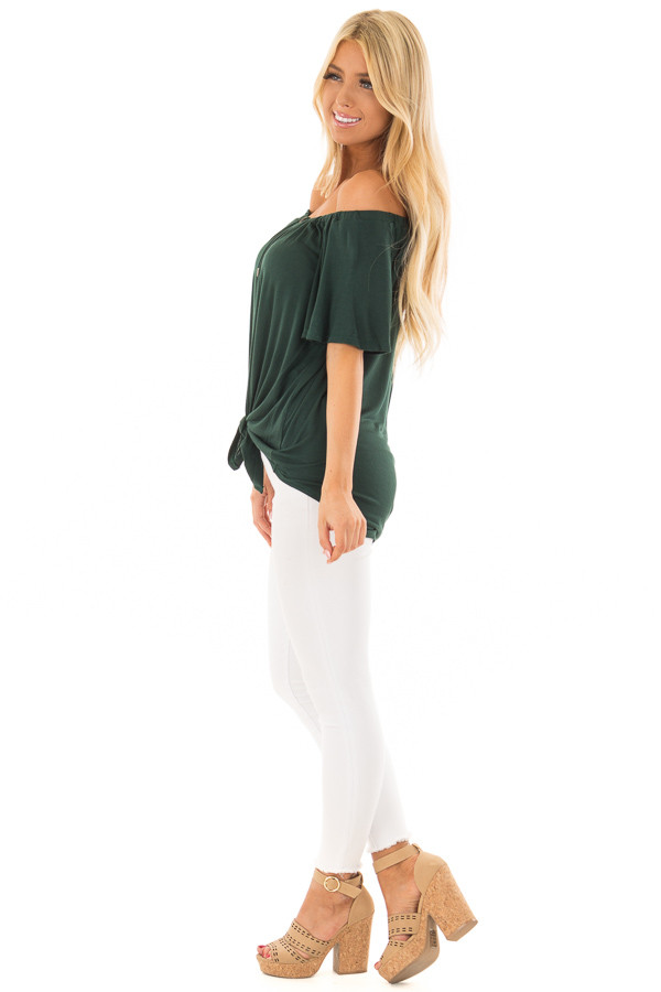Hunter Green Off the Shoulder Top with Button Details side full body