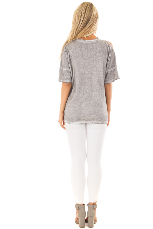 Charcoal Mineral Wash Top with Shoulder Cut Outs back full body