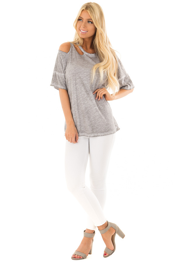 Charcoal Mineral Wash Top with Shoulder Cut Outs front full body