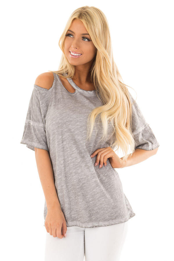 Charcoal Mineral Wash Top with Shoulder Cut Outs front close up