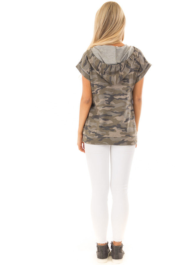 Olive Camouflage Short Sleeve Hoodie with Front Pocket back full body
