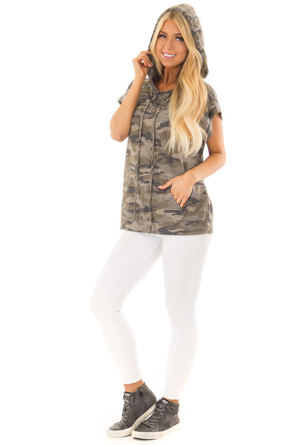 Olive Camouflage Short Sleeve Hoodie with Front Pocket front full body
