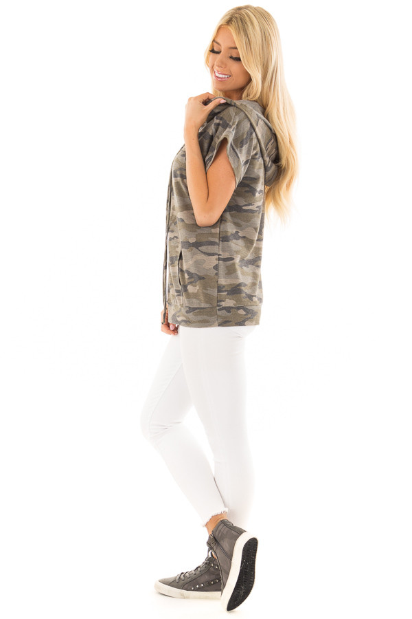 Olive Camouflage Short Sleeve Hoodie with Front Pocket side full body