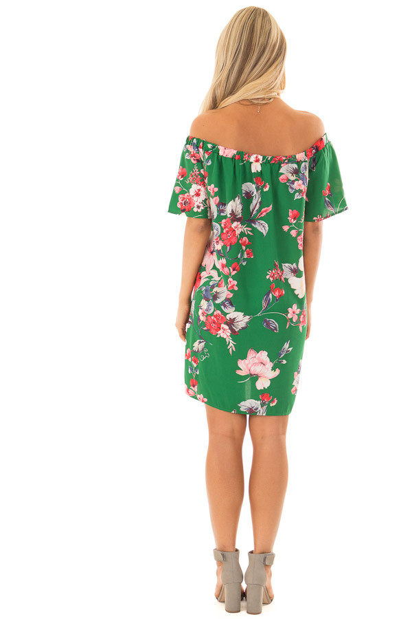 Kiwi Green Floral Off the Shoulder Short Dress back full body