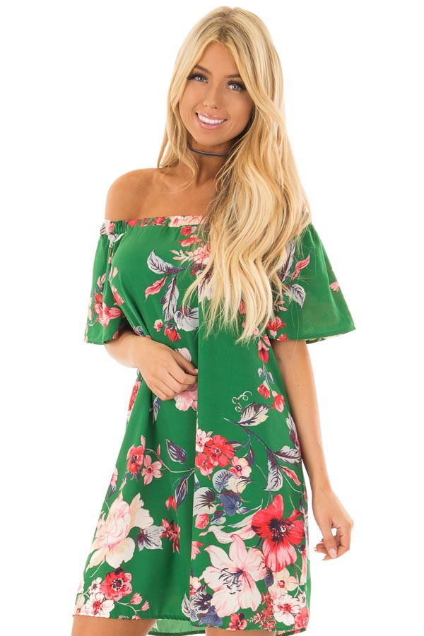 Kiwi Green Floral Off the Shoulder Short Dress front close up