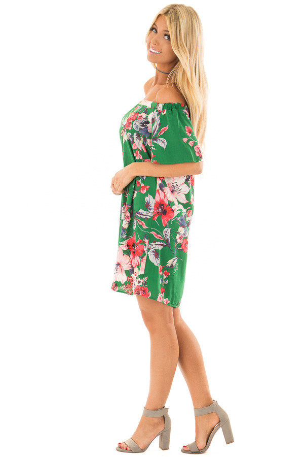 Kiwi Green Floral Off the Shoulder Short Dress side full body