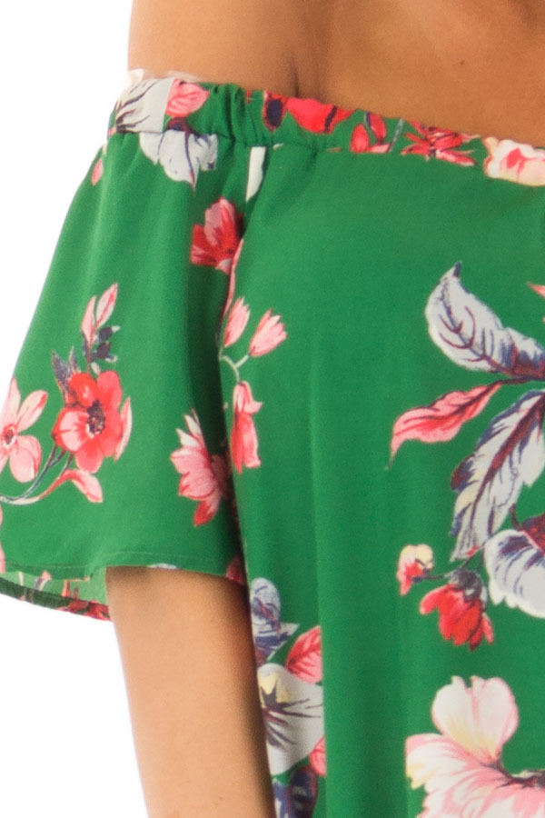 Kiwi Green Floral Off the Shoulder Short Dress detail