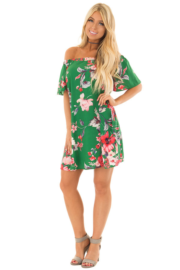 Kiwi Green Floral Off the Shoulder Short Dress front full body