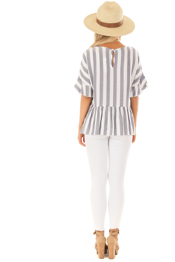 Chambray and Ivory Stripes with Ruffle Sleeve Detail back full body
