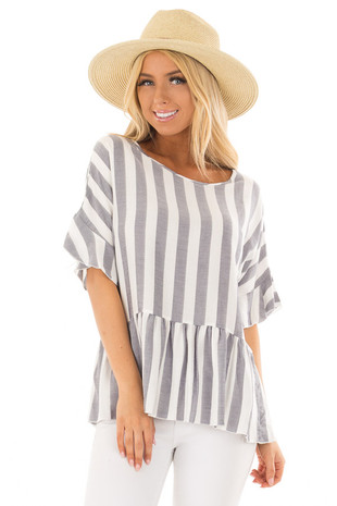 Chambray and Ivory Stripes with Ruffle Sleeve Detail front closeup