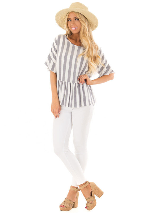 Chambray and Ivory Stripes with Ruffle Sleeve Detail front full body