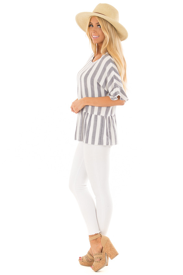 Chambray and Ivory Stripes with Ruffle Sleeve Detail side full body