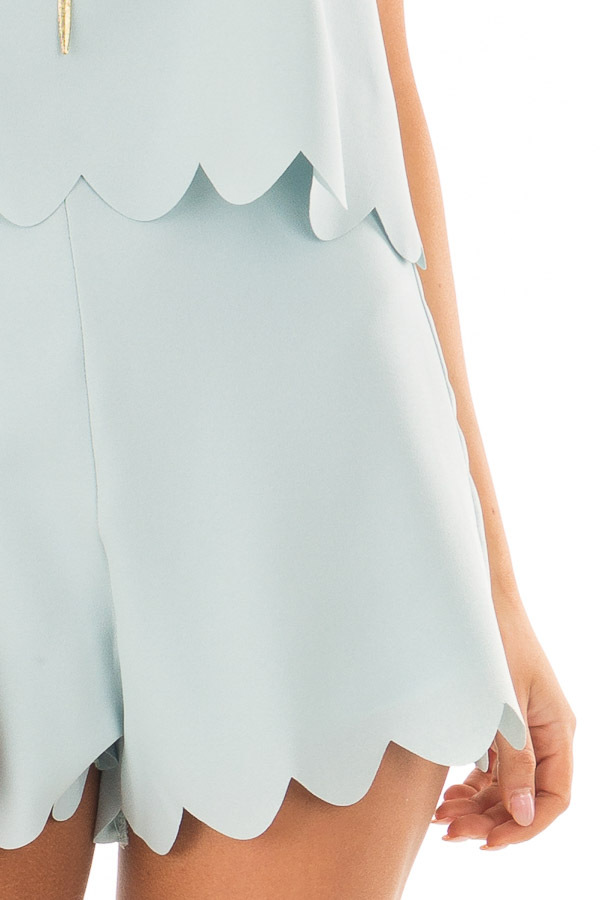 Blue Mint Romper with Scalloped Hemline and Open Back front detail