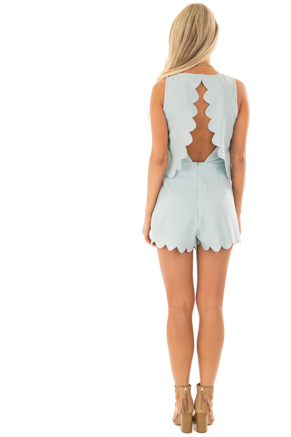 Blue Mint Romper with Scalloped Hemline and Open Back back full body