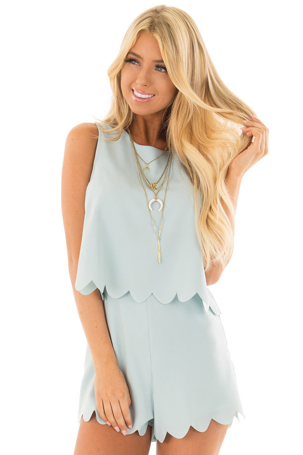 Blue Mint Romper with Scalloped Hemline and Open Back front closeup