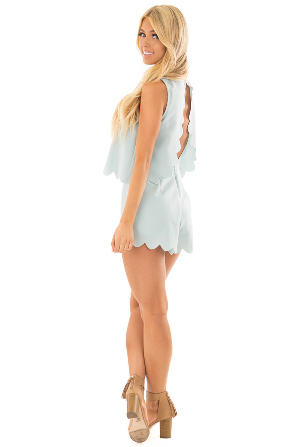 Blue Mint Romper with Scalloped Hemline and Open Back side full body