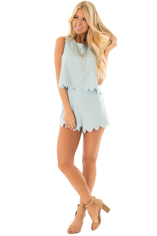 Blue Mint Romper with Scalloped Hemline and Open Back front full body