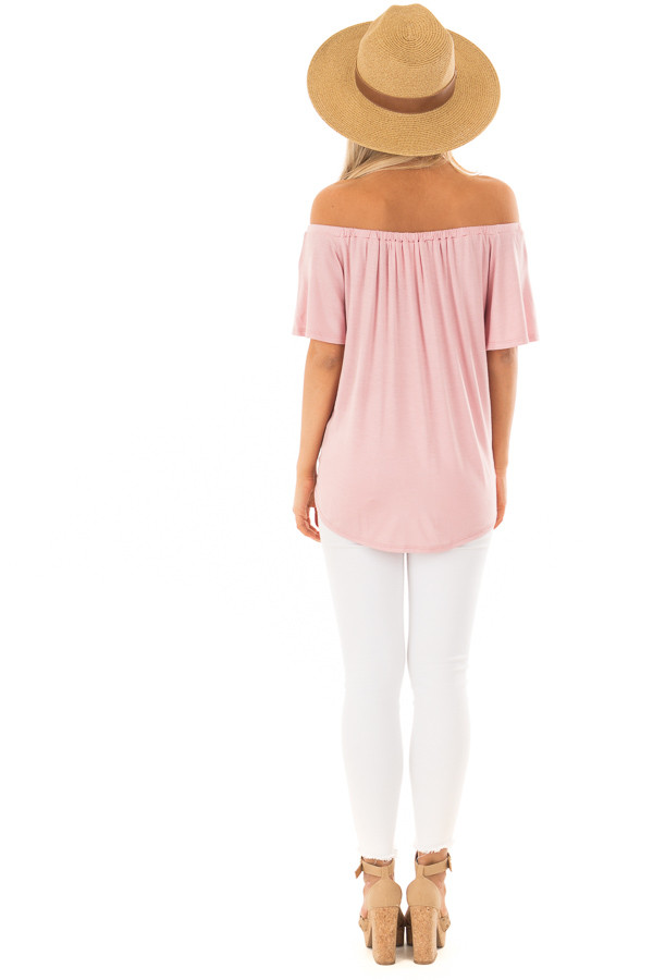 Misty Rose Off the Shoulder Top with Button Details back full body