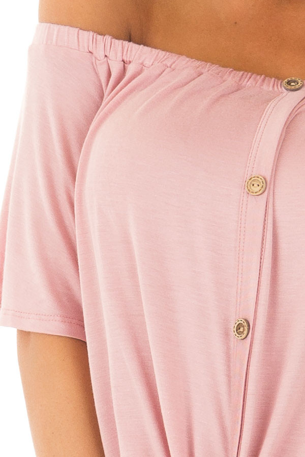 Misty Rose Off the Shoulder Top with Button Details front detail