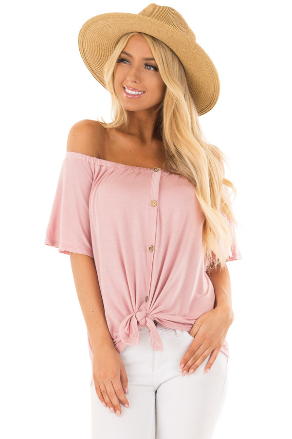 Misty Rose Off the Shoulder Top with Button Details front closeup