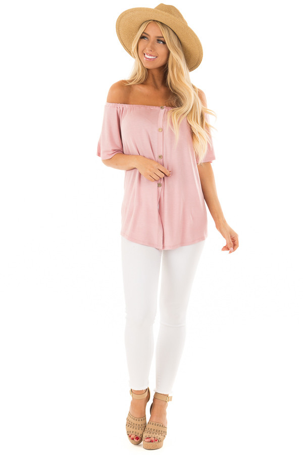 Misty Rose Off the Shoulder Top with Button Details front full body