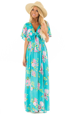 Turquoise Floral Print Maxi Dress with Cut Out Detail front full body
