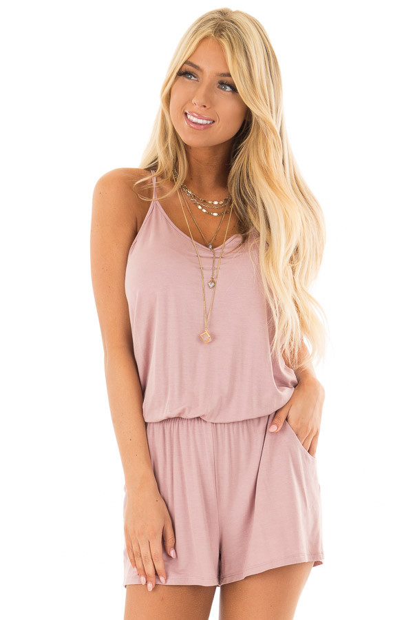 Dusty Rose V Neck Romper with Side Pockets front closeup