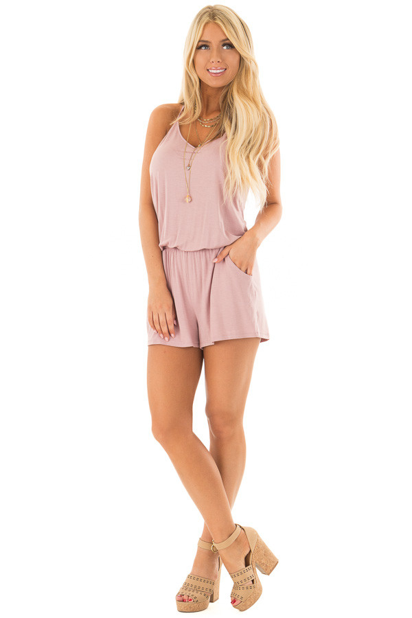 Dusty Rose V Neck Romper with Side Pockets front full body