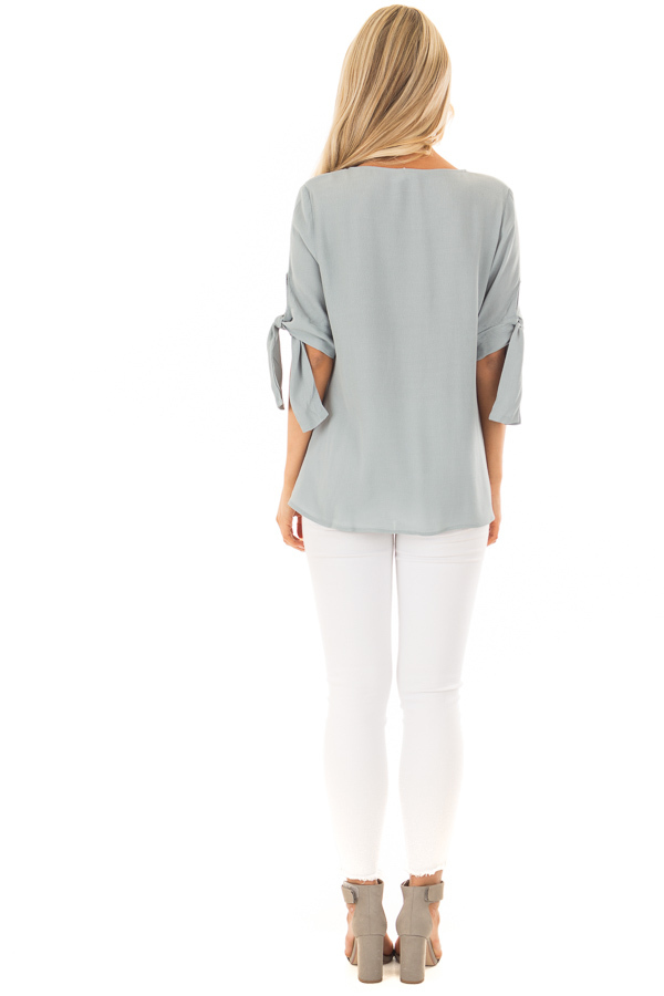 Steel Blue V Neck Blouse with Front Twist back full body