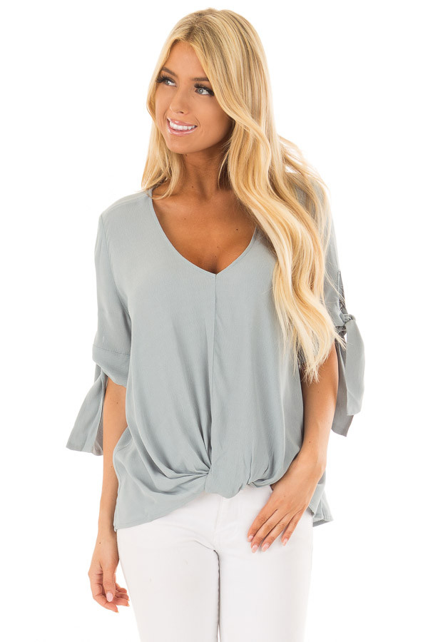 Steel Blue V Neck Blouse with Front Twist front closeup