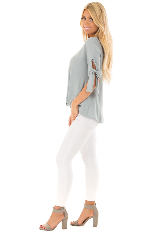 Steel Blue V Neck Blouse with Front Twist side full body