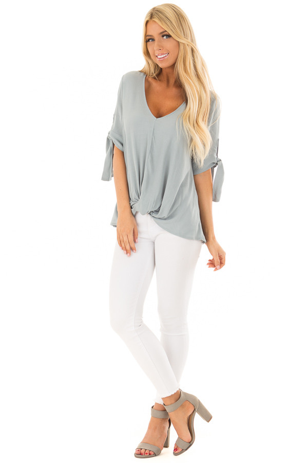 Steel Blue V Neck Blouse with Front Twist front full body