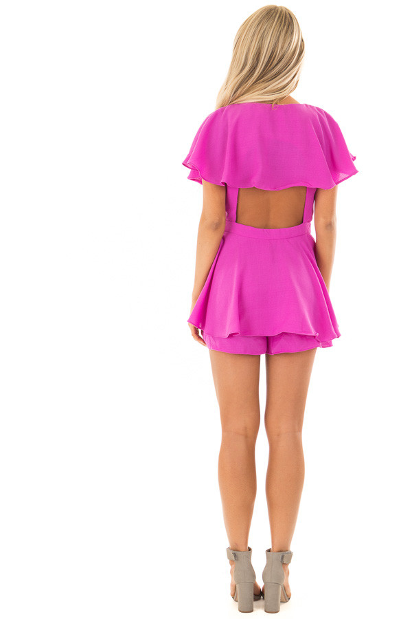 Orchid Purple Short Sleeve Wrap Romper with Tie Detail back full body