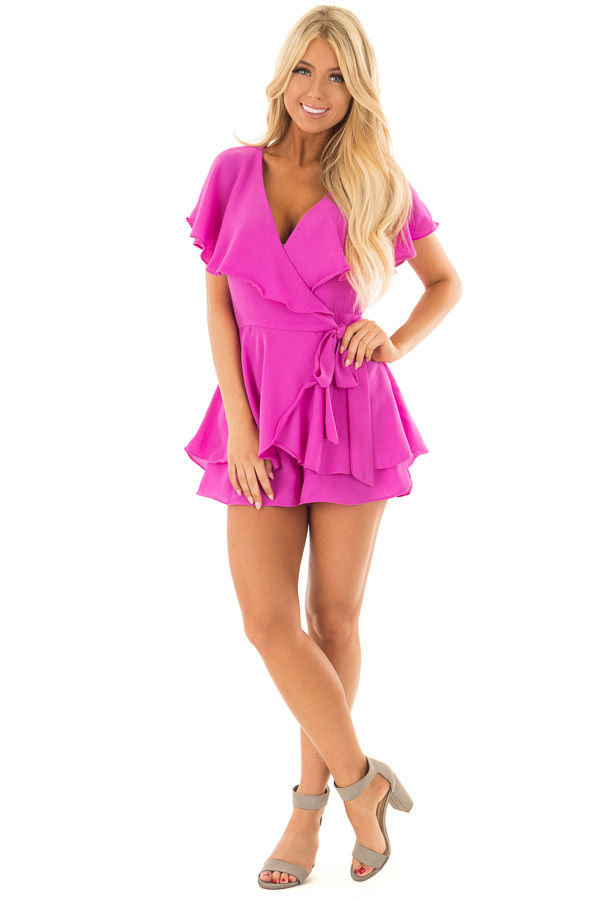 Orchid Purple Short Sleeve Wrap Romper with Tie Detail front full body