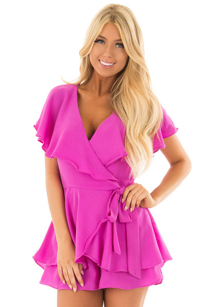 Orchid Purple Short Sleeve Wrap Romper with Tie Detail front closeup