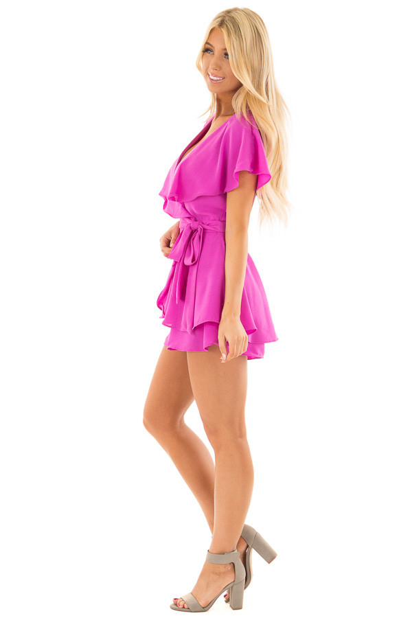 Orchid Purple Short Sleeve Wrap Romper with Tie Detail side full body