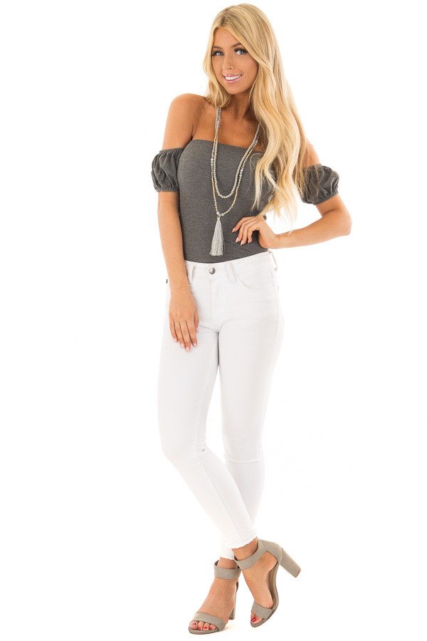 Charcoal Ribbed Knit Off the Shoulder Bodysuit front full body