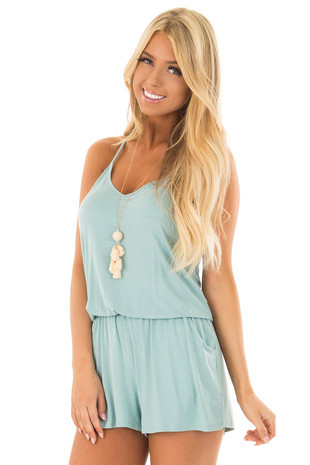 Misty Teal V Neck Romper with Side Pockets front close up
