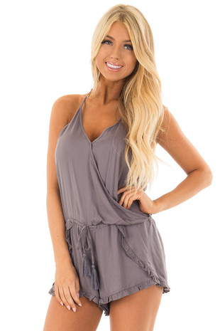 Charcoal Grey Cross Over Romper with Ruffle Detail front close up